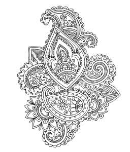 coloriage-adulte-paisley-cashemire free to print