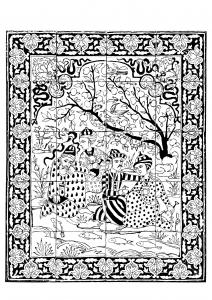 coloriage-iran-1700-1800-panneau-revetement-mural-hommes-au-bord-d-un-ruisseau free to print