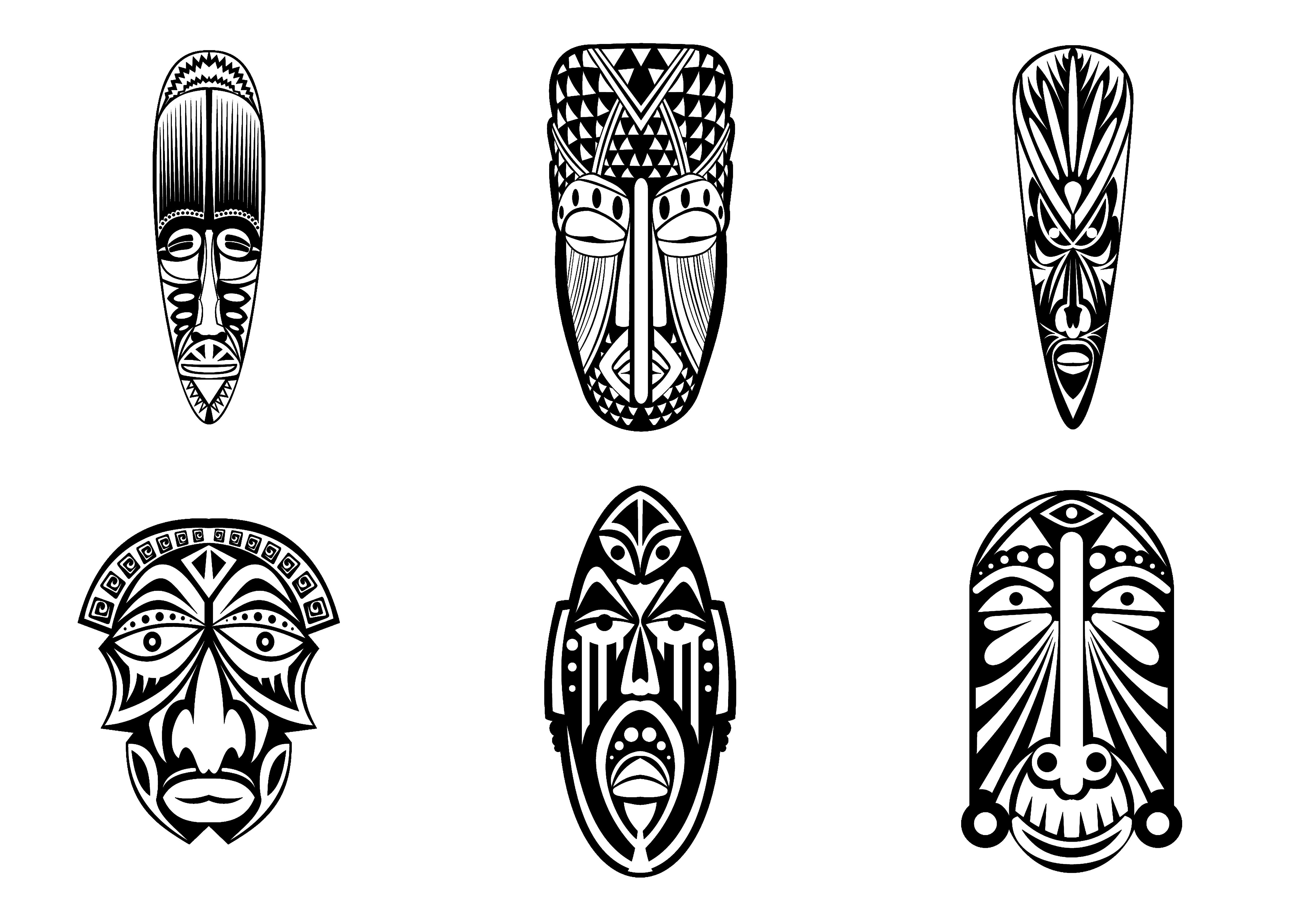 6 masques africains simplesA partir de la galerie : Afrique