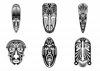 coloriage-adulte-6-masques-africains-simples free to print