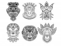 coloriage-adulte-6-masques-africains free to print