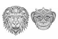 coloriage-adulte-afrique-tetes-singe-lion free to print