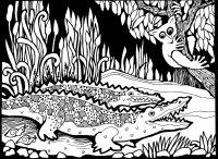 coloriage-afrique-dessin-crocodiles free to print