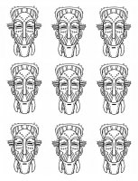 coloriage-afrique-masques-traditionnels free to print