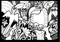 coloriage-afrique-peroquets free to print