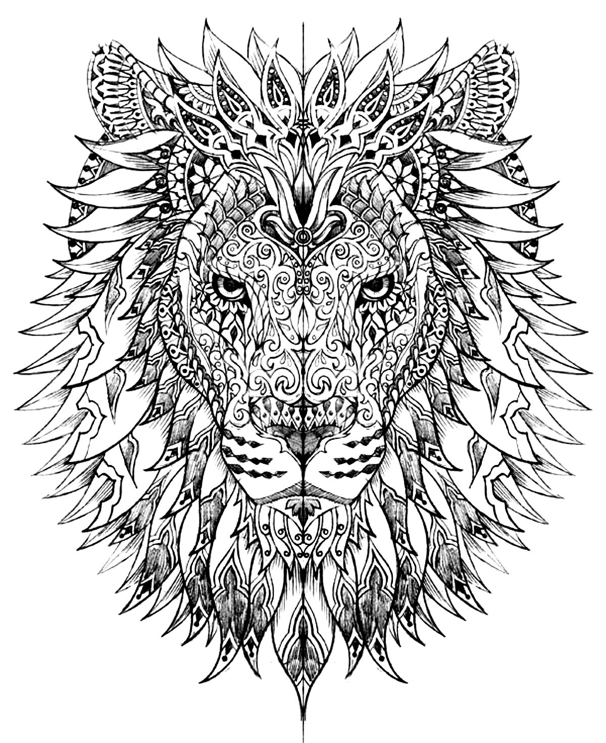 Animaux coloriages difficiles pour adultes coloriage - Coloriages lion ...
