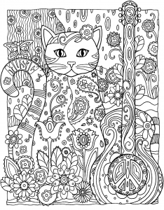 coloriage-adulte-animaux-chat-guitare free to print