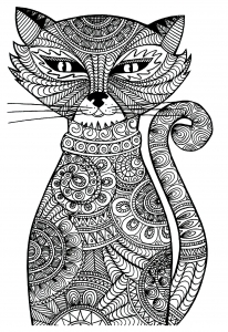 coloriage-adulte-animaux-chat-malicieux free to print