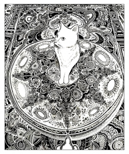 coloriage-adulte-animaux-chat-tapis free to print