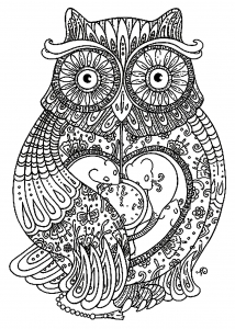 coloriage-adulte-animaux-gros-hibou free to print