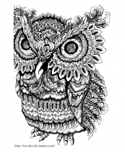 coloriage-adulte-animaux-hibou-gros-yeux free to print