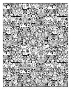 coloriage-adulte-animaux-nombreux-hiboux free to print