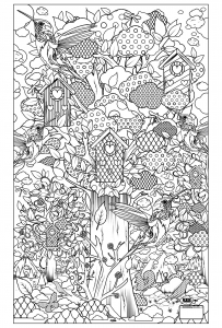 coloriage-adulte-animaux-oiseaux-cabane free to print