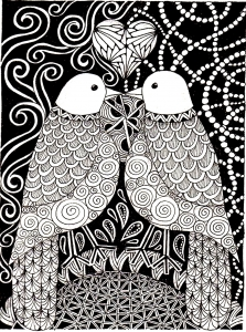 coloriage-adulte-animaux-peruches-amour free to print