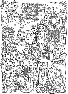 coloriage-adulte-animaux-plein-chats free to print