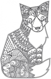 coloriage-adulte-animaux-renard free to print
