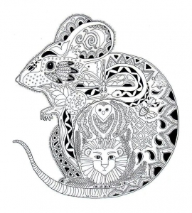 coloriage-adulte-animaux-souris free to print