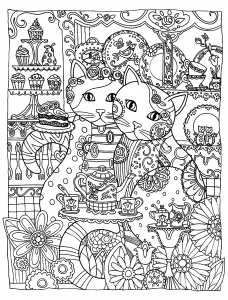 coloriage-adulte-animaux-two-cats-love free to print