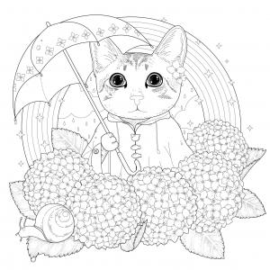 coloriage-adulte-chat-arc-en-ciel-et-mandala-par-kchung free to print