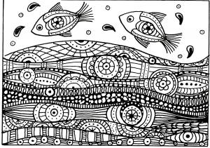 coloriage-adulte-deux-poissons-vagues-motifs free to print
