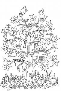 coloriage-adulte-difficile-arbre-oiseaux-serpents-singes free to print