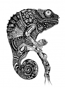 coloriage-adulte-difficile-cameleon free to print