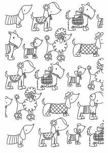 coloriage-adulte-difficile-chiens-elegants free to print