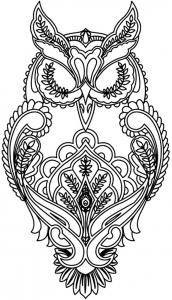 coloriage-adulte-difficile-hibou free to print