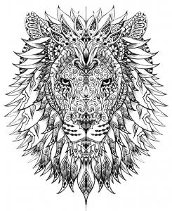 coloriage-adulte-difficile-tete-lion free to print