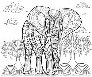 coloriage-adulte-elephant-par-alfadanz free to print