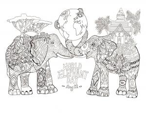 coloriage-adulte-jour-mondial-des-elephants free to print