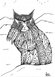coloriage-adulte-leen-margot-le-chat-des-montagnes free to print