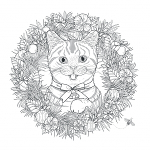 coloriage-adulte-mandala-chat-kchung free to print