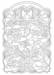 coloriage-adulte-marre-aux-poissons free to print