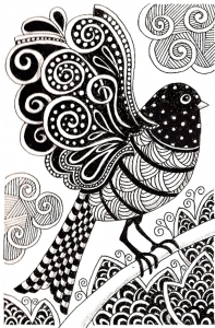 coloriage-adulte-oiseau-sombre free to print