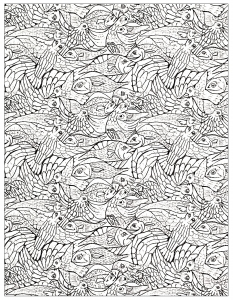 coloriage-adulte-poissons-2 free to print