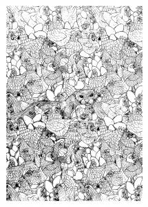 coloriage-adulte-poules-et-furet free to print