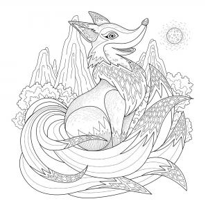 coloriage-adulte-renard-espiegle-par-kchung free to print