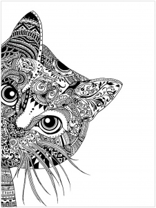coloriage-adulte-tete-de-chat free to print
