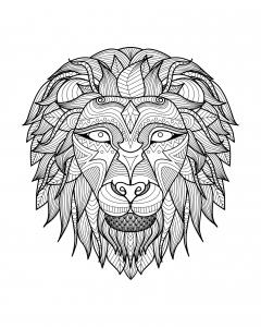 coloriage-adulte-tete-lion-2 free to print