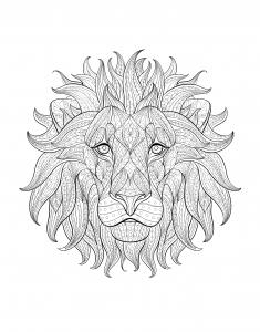 coloriage-adulte-tete-lion-3 free to print