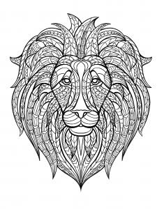 coloriage-adulte-tete-lion free to print