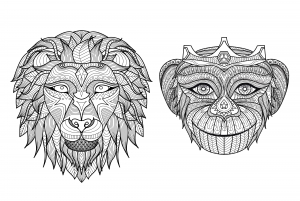 coloriage-adulte-tetes-singe-lion free to print
