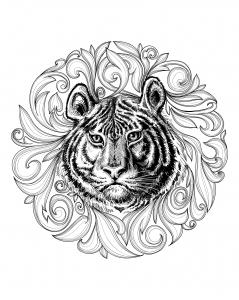coloriage-adulte-tigre-cadre-feuillu free to print