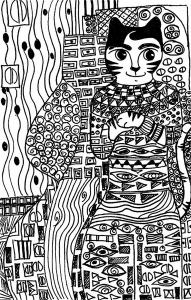 coloriage-cat-gold-phase-klimt-par-cheri-from-the-crafty-sisters free to print