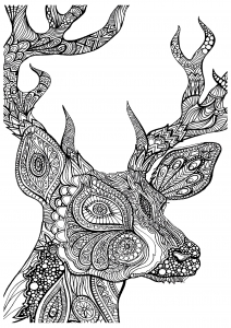 coloriage-difficile-cerf-zoom free to print