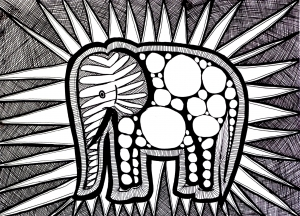 coloriage-difficile-elephant free to print