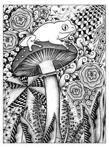 coloriage-difficile-grenouille free to print