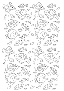 coloriage-gratuit-100-poissons free to print