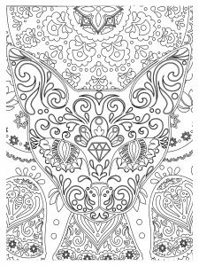 Animaux coloriages difficiles pour adultes page 5 - Coloriage tete de chat ...